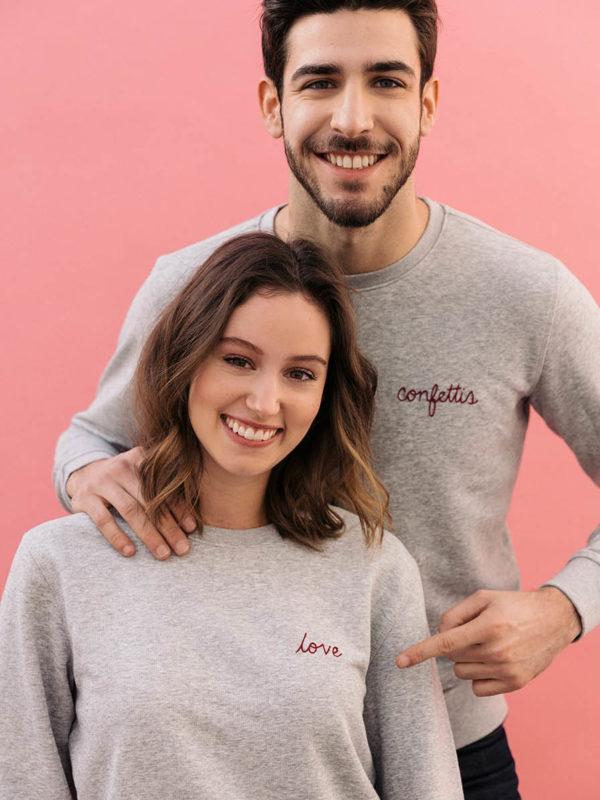 Sweatshirt Gris Brodé & Custom