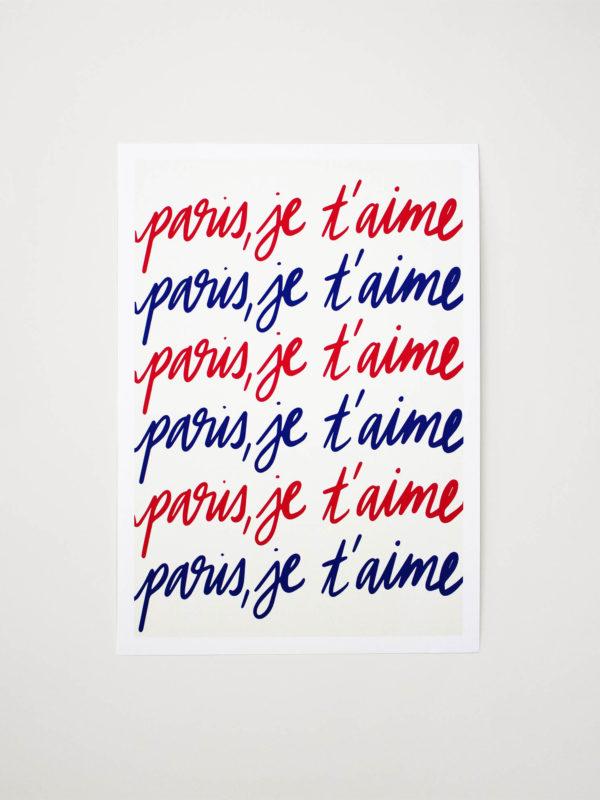 Affiche A4 Paris, je t'aime