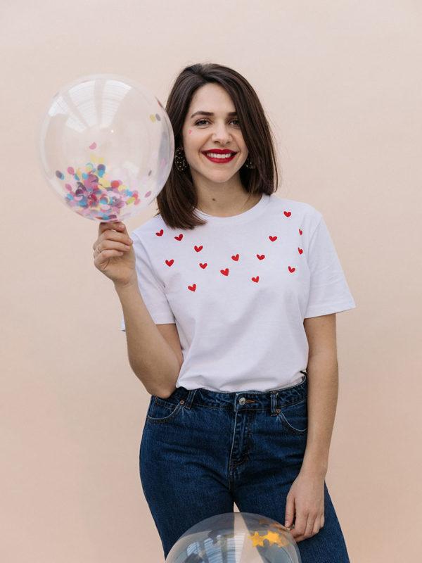 T-shirt Brodé Coeurs Rouges