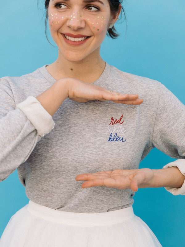 Sweatshirt Brodé Red White Bleu