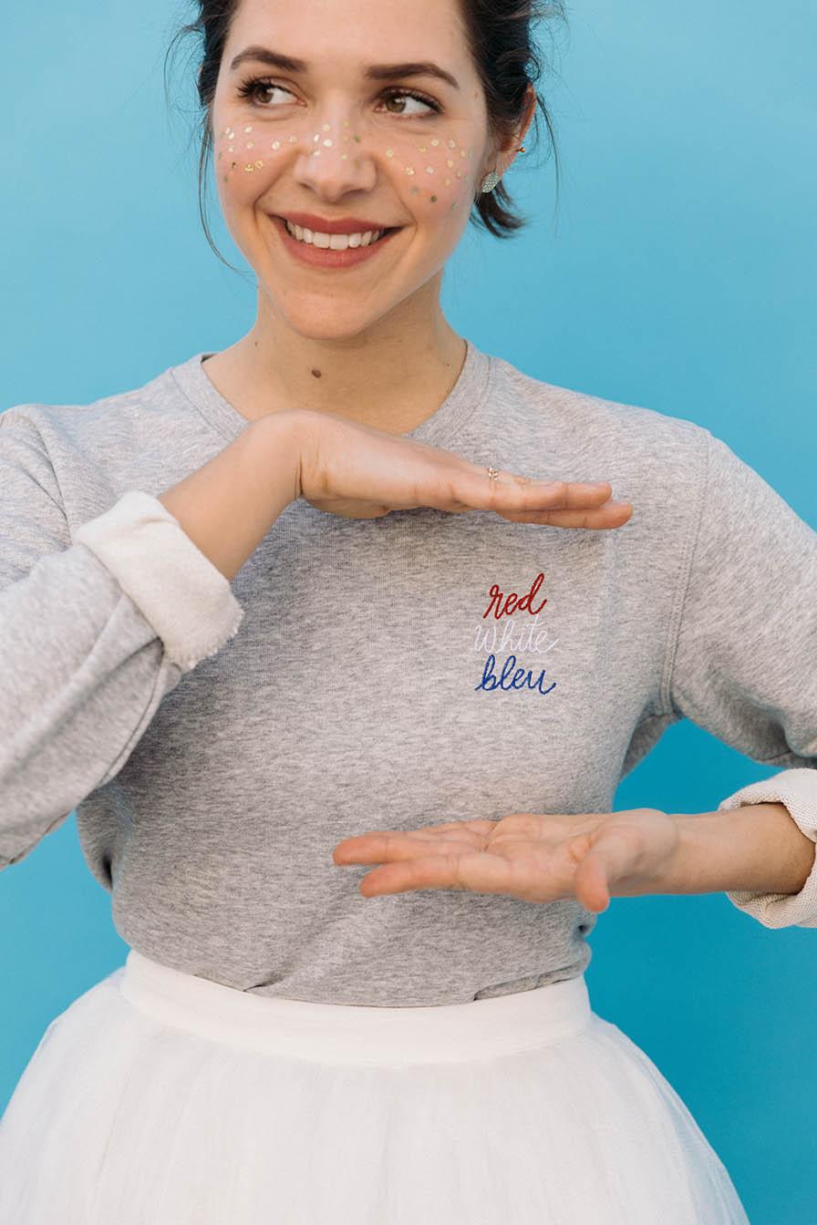 sweatshirt bleu blanc rouge femme