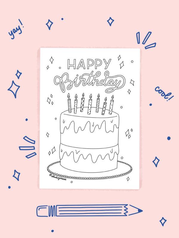 Feuille de Coloriage – Happy Birthday